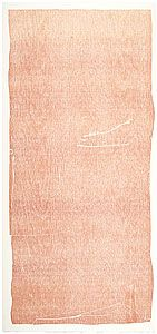 FRANKENTHALER, Helen  United States of America 1928    Essence mulberry 1977  relief  colour woodcut printed from one woodblock  cream, wove, mould made Maniai paper  edition of 46, plus 10 AP, 13 TP, 2 WP, RTP, PPI, A, 8 RP  unsigned proof  no manufacturer's mark.  Proofing and edition printing by John Hutcheson and Ken Tyler. One of seven such unsigned proofs in the Tyler Gift. Two colours printed in a blend roll from one woodblock: brown and tan.