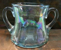 Open Sugar Bowl Iridescent Glass Swirl Ribbed by Snowyowltreasures
