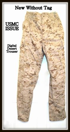 NWOT USMC Issue Digital Desert Marpat Camouflage Trousers Size Small Long $19.95