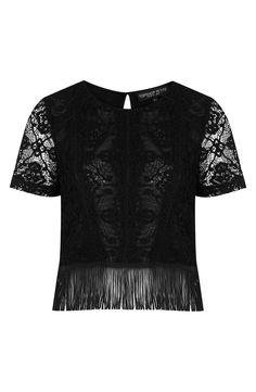 Topshop Fringed Lace Top (Petite)