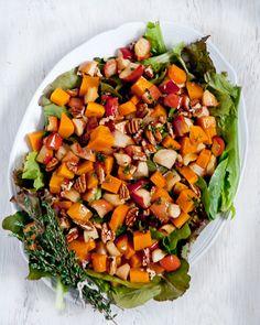 Roasted Butternut Squash-Apple Salad with Thyme Vinaigrette #glutenfree