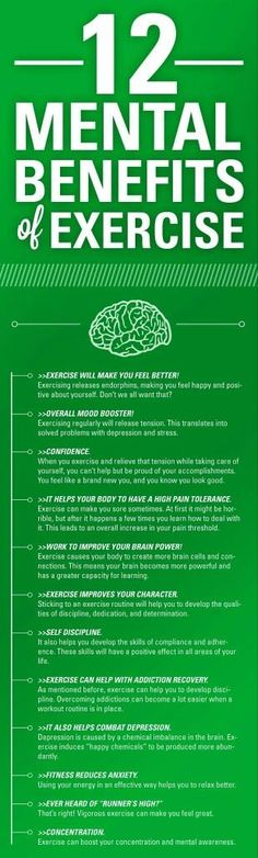 Not only is exercise good for your physical health, there are several mental benefits as well. Exercise can help you concentrate, and even decrease depression.
