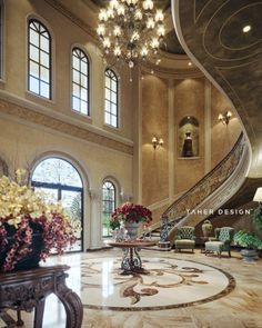 Grand foyer design for luxury mansion located in (Dubai, UAE). interior design by Taher Design Studio. All Rights Reserved Luxury Homes Dream Houses, Luxury Homes Interior, Luxury Home Decor, Luxury Apartments, Modern Mansion Interior, Dubai Houses, Dream Mansion, Mansions Homes, Inside Mansions