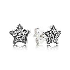 Star silver stud earring set with pavé cubic zirconia #PANDORAearrings
