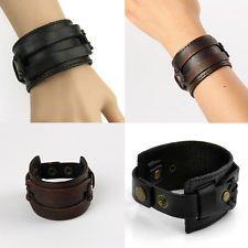 Brown/Black Adjustable Men's Punk Leather Wristband Cuff Bangle Bracelet New 1PC
