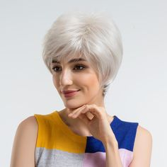 BLONDE UNICORN Women Synthetic Wigs Short Straight White High Temperature Fiber Artificial Hair cheap is hot sale, shop other cheap synthetic wigs online. Cheap Lace Front Wigs, Cheap Wigs, Natural Hair Wigs, Natural Hair Styles, How To Wear A Wig, Silver Shorts, Wigs For Sale, Wigs Online, Side Bangs