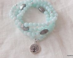 108 Mala Beads Yoga Necklace Tree Of Life Mala  Natural pearl bracelet gem  BRACELET : - Bracelet mounted on elastic stretchable -Strong latex free