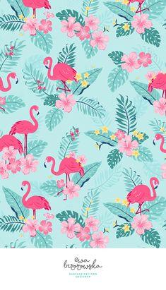Tropical rush - textile design, pattern design, cute pattern, illustration, children illustration, children bedding, children pattern design, flamingo, tropical, jungle, tropical pattern, floral, flowers, leaves, palm, summer, mint