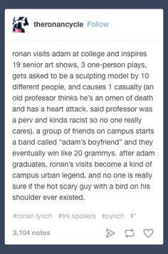 """Ronan visiting Adam at college"" are my favorite headcanons."