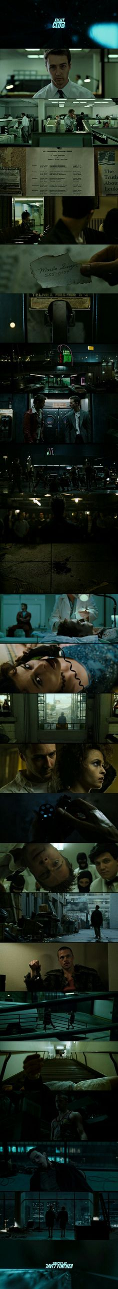 Fight Club (1999) Directed by David Fincher. Starring Brad Pitt, Edward Norton and Helena Bonham Carter.