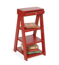 USA-Made Eastern Pine Magazine Ladder Shelf Stand. wood sucks save for idea $149 from plowhearth