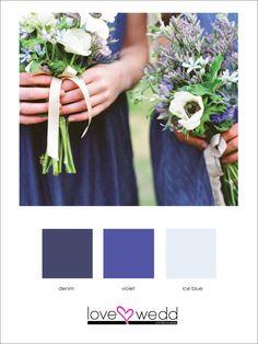 dark blue, violet, light blue #color palette #wedding