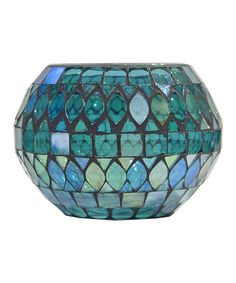 Teal & Turquoise Glass Bowl