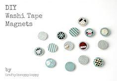 DIY Washi Tape Magnets via www.craftyscrappyhappy.net