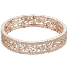 LC Lauren Conrad Textured Openwork Flower Stretch Bracelet ($13) ❤ liked on Polyvore featuring jewelry, bracelets, light pink, rose jewellery, stretch jewelry, rose flower jewelry, blossom jewelry and lc lauren conrad