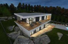 Villa in Stockholm 2 Modern Roof Design, Casas Country, Cabana, Container House Plans, Minimalist House Design, Casa Real, Floating House, Villa Design, Dream Home Design