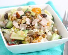 Fresh endive salad with mandarin and chicken Vegetarian Recepies, Healthy Diet Recipes, Healthy Dishes, Lunch Recipes, Salad Recipes, Cooking Recipes, Healthy Food, Vegetable Recipes, Good Food