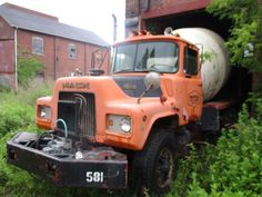 Vehicle Signage, Concrete Mixers, Mack Trucks, Rigs, Cement, Abandoned, Waiting, American, Green