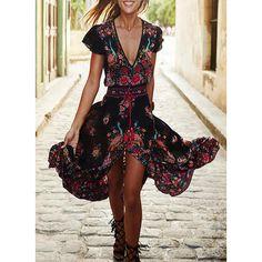 63c12d46200b Print/Floral Short Sleeves A-line Maxi Casual/Boho/Vacation Dresses Short