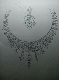 . Jewellery Sketches, Jewelry Drawing, Beaded Embroidery, Embroidery Designs, Seed Bead Art, Maggam Work Designs, Pakistani Jewelry, Neckline Designs, Bead Sewing