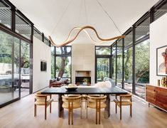 San Antonio House by Lake Flato Architects Exemplifies Indoor-Outdoor Living Interior Design Magazine, White Oak Dining Table, Dining Tables, Lake Flato, Live Oak Trees, Indoor Outdoor Living, Outdoor Spaces, Living Room Modern, Living Spaces