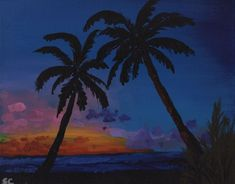 Sunset Beach with Palm Trees - Free Arts Academy- Art From Our Channel Sky Painting, Acrylic Painting Canvas, Art Paintings For Sale, Flower Landscape, Art Academy, Sunset Beach, Pet Portraits, Rainbow Colors, Palm Trees