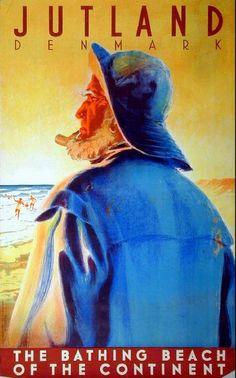 "Jutland, Denmark - ""The Bathing Beach of the Continent"" http://adventures-of-the-blackgang.tumblr.com/post/2561602780/poster-jutland-denmark-oilskins"
