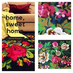 Good vibes only, floral decor, handwoven rugs made in Romania, flatweave wool loom carpets and tapestries. Floral Rug, Good Vibes Only, Sustainable Living, Rug Making, Tapestries, Carpets, Loom, Folk Art, Hand Weaving
