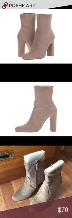 Steve Madden Suede Taupe mid calf boots size 6.5 In very god condition. I worn once to an indoor event. No scratch or mark. True to size. Steve Madden Shoes Ankle Boots & Booties