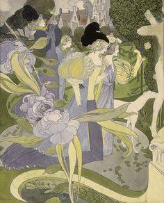 A walk in the garden, Georges de Feure. Dutch Art Nouveau Painter, Printmaker (1868 - 1943)