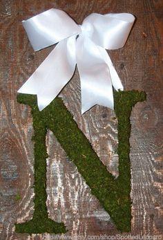 Moss Covered Wedding Church Door Initial Wreath Monogram