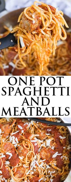This quick and easy ONE POT SPAGHETTI AND MEATBALLS recipe requires simple ingredients. It's the ultimate comfort food that's ready in 30 minutes. From cakewhiz.com