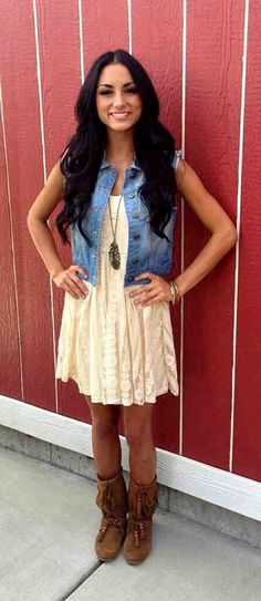 ivory lace dress with blue jean vest. would be cute with cowboy boots.