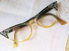 e6704a366f Retro Fun 1950s Cateye Glasses With Black and Rhinestones - Styling in the  50s or 60s - Wear Them - vintage