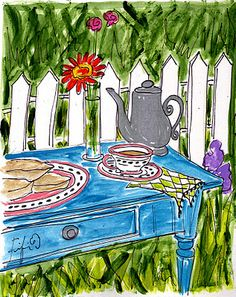 Scones in the Garden... painting by Fifi Flowers
