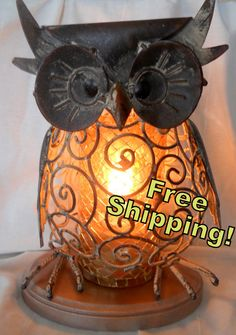 Wise and Wired Owl Lamp in Gold Mosaic - Night Light - Accent Lamp - Home Decor. $48.00, via Etsy.