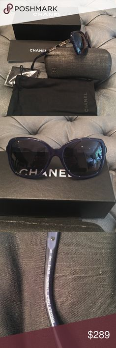 """Chanel limited blue /with crystals Chanel Limited Blue/w crystals Sunglasses 5308-B c.1499/K4 57.   Gently used. Glasses come with case and box. Measurements: 5""""x2""""x5"""" 5308-B 1499/k4 size 57 made in Italy. Polarized. Slight smudge on arm.  No visible scratches CHANEL Accessories Glasses"""