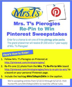 How to Enter and Official Rules  #MrsTsRepin2Win   We Absolutely LOVE Pierogies!!!