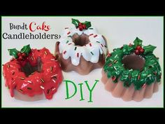 Learn how to make bundt cake candleholders for Christmas or any occasion. They would be fun as part of a wedding centerpiece, when done in . Christmas Crafts For Gifts, Christmas Diy, First Communion Cakes, Paris Cakes, Harry Potter Cake, Book Cakes, Diy Candle Holders, Disney Cakes, Chocolate Decorations