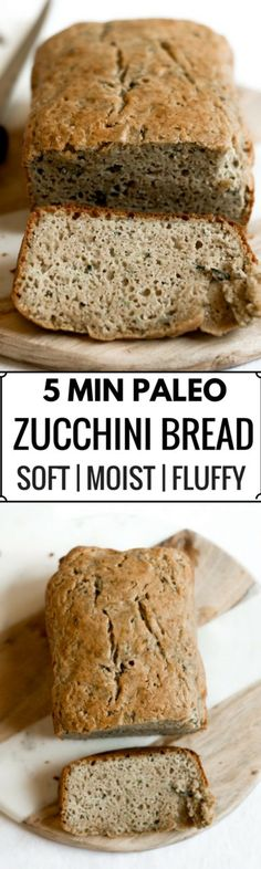 This 5 Minute Paleo Zucchini Bread is incredibly moist, light, and fluffy. Packed with protein and whole foods, this easy to make bread is a tasty treat for breakfast and any snacking occasion.