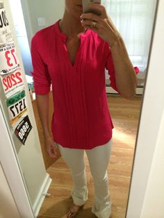 Shirts like this are so practical.  They wear like a tee, but look much better.  The color is lovely, I find a V neck flattering, and the length is great!