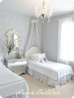 pretty girls' room! (color is Benjamin Moore pebble beach)