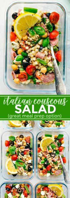 A healthy and simple Italian Couscous Salad that everyone will go crazy for! (Me… A healthy and simple Italian Couscous Salad that everyone will go crazy for! (Meal prep options and tips included) via chelseasmessyapro… Vegetarian Meal Prep, Lunch Meal Prep, Vegetarian Recipes, Healthy Recipes, Healthy Options, Meal Prep Salads, Meal Prep For Vegetarians, Lunch Meals, Vegan Meals