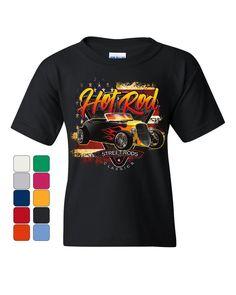 e567af9b82aee 1933 Roadster Hot Rod American Flag Youth T-Shirt Street Rods Classics Kids  Tee