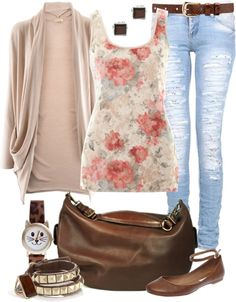 """Casual Floral Tank Top Look"" by angela-windsor ❤ liked on Polyvore"