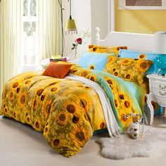 Sky Blue And Yellow Rustic Chic Botany Sunflower Garden Images Full Queen Size Bedding Sets
