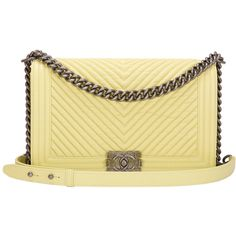 Chanel Yellow Chevron New Medium Boy Bag ($6,800) ❤ liked on Polyvore featuring bags, handbags, shoulder bags, chanel, chanel bag, purses, handbags and purses, structured shoulder bags, yellow purse and shoulder strap handbags