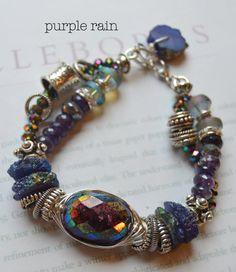 ON SALE chunky bracelet, garnet bracelet, amethyst bracelet, multi strand bracelet, wire wrapped bracelet, druzy bracelet, free shipping