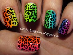 Polish Art Addiction: Rainbow Leopard - Lisa Frank, anyone? Nail Polish Art, Nail Polish Designs, Nail Designs, Gradient Nails, Rainbow Nails, Neon Rainbow, Lisa Frank, Get Nails, Hair And Nails