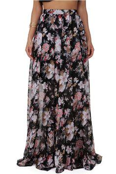 FINAL SALE- Black Floral Enchantment Skirt